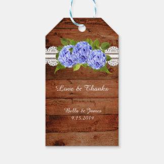 Rustic Lace Blue Hydrangea Wedding Favor Gift Tag