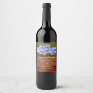 Rustic Lace Blue Hydrangea Wedding  Wine Label