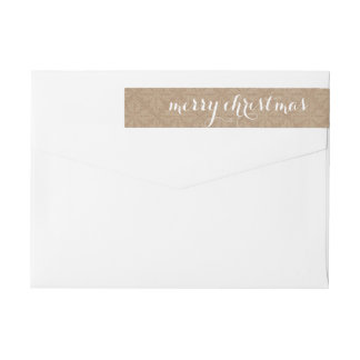 Rustic Lace Brown Merry Christmas Wraparound Return Address Label