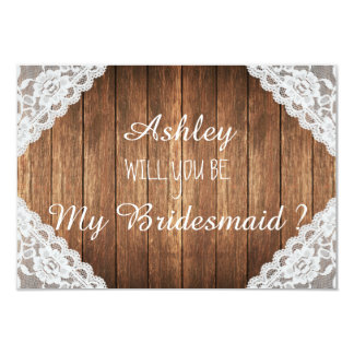 Rustic Lace Brown Wood Will you be my bridesmaid Card