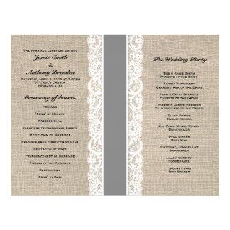 Rustic Lace & Burlap Gray Ribbon Wedding Program 21.5 Cm X 28 Cm Flyer
