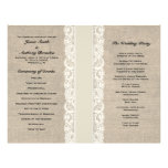 Rustic Lace & Burlap Ivory Ribbon Wedding Program