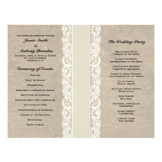 Rustic Lace & Burlap Ivory Ribbon Wedding Program 21.5 Cm X 28 Cm Flyer