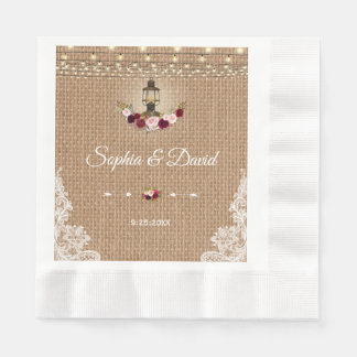 Rustic Lace Burlap Lantern String Lights Wedding Disposable Napkins