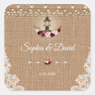 Rustic Lace Burlap Lantern String Lights Wedding Square Sticker