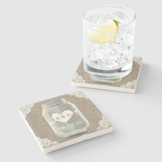 Rustic Lace & Burlap Mason Jar Wedding Stone Coaster