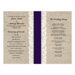 Rustic Lace & Burlap Navy Ribbon Wedding Program Flyers