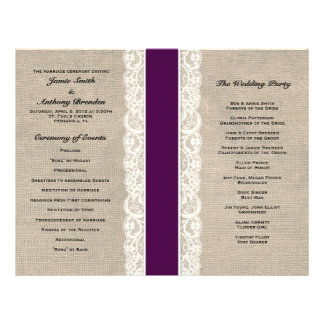 Rustic Lace & Burlap Plum Ribbon Wedding Program 21.5 Cm X 28 Cm Flyer