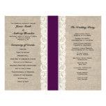 Rustic Lace & Burlap Plum Ribbon Wedding Program Flyer