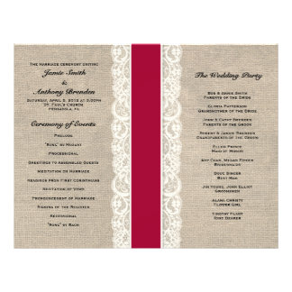 Rustic Lace & Burlap Red Ribbon Wedding Program 21.5 Cm X 28 Cm Flyer