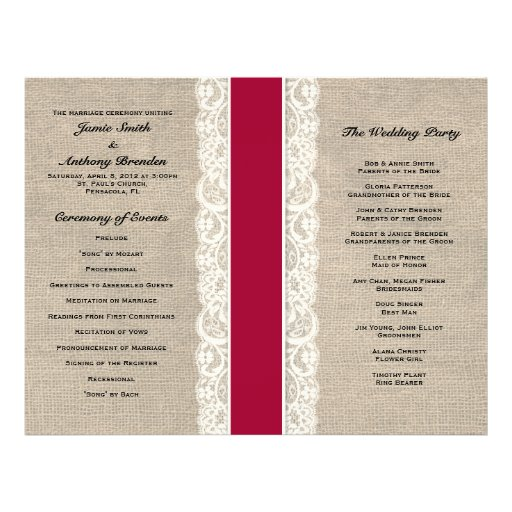 Rustic Lace & Burlap Red Ribbon Wedding Program Full Color Flyer
