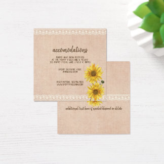 Rustic Lace & Burlap Sunflowers Wedding Hotel Square Business Card