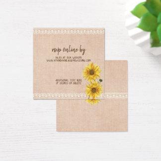 Rustic Lace & Burlap Sunflowers Wedding RSVP Card