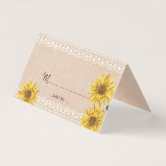 Rustic Lace & Burlap Sunflowers Wedding Table No. Business Card