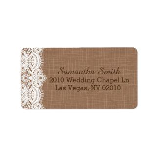 Rustic Lace Burlap Wedding Labels