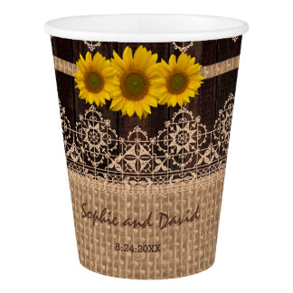 Rustic Lace Burlap Wood I DO BBQ Paper Cup