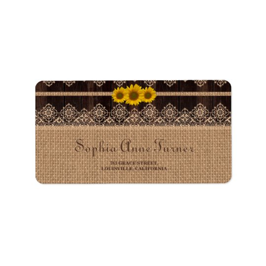 Rustic Lace Burlap Wood Wedding Address Label