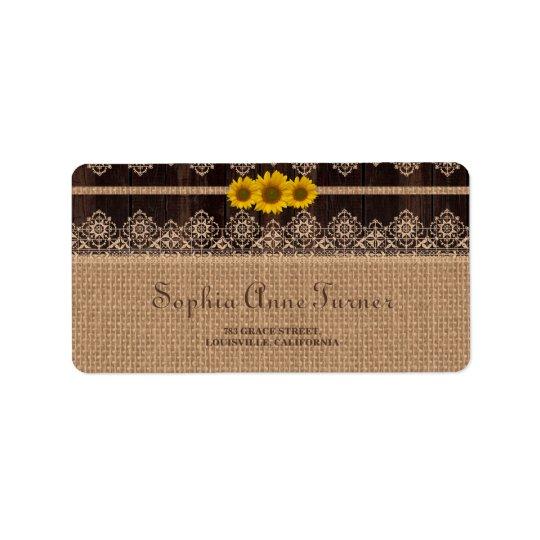 Rustic Lace Burlap Wood Wedding Label