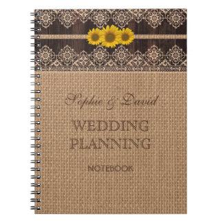 Rustic Lace Burlap Wood Wedding Planner Notebook