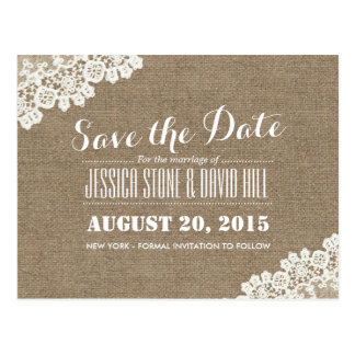 Rustic Lace Corner Burlap Wedding Save the Date Postcard