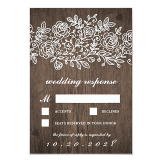 Rustic Lace Country Barn Wood Wedding RSVP Cards