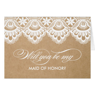 RUSTIC LACE   MAID OF HONOR CARDS