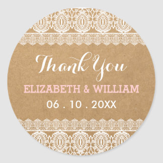 Rustic Lace & Paper Wedding Thank You Pink Round Sticker