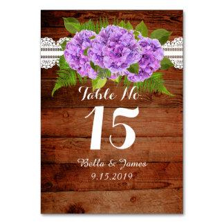 Rustic Lace Purple Hydrangea Wedding Table Card