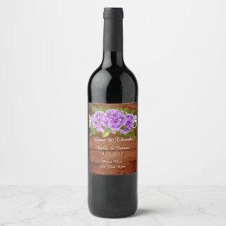 Rustic Lace Purple Hydrangea Wedding  Wine Label