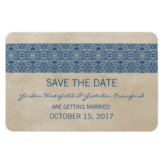 Rustic Lace Save the Date Magnet, Blue