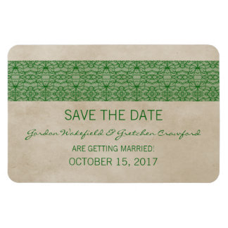 Rustic Lace Save the Date Magnet, Green