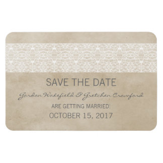 Rustic Lace Save the Date Magnet, Ivory