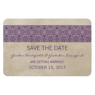 Rustic Lace Save the Date Magnet, Purple