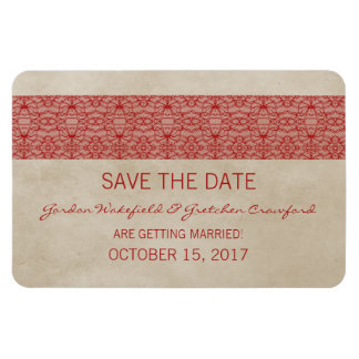 Rustic Lace Save the Date Magnet, Red