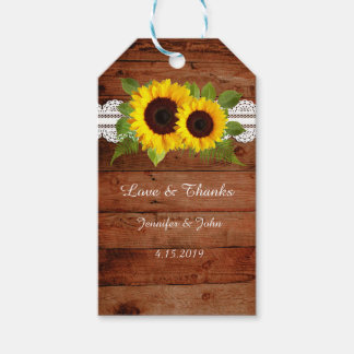 Rustic Lace Sunflowers Wedding Favor Gift Tag