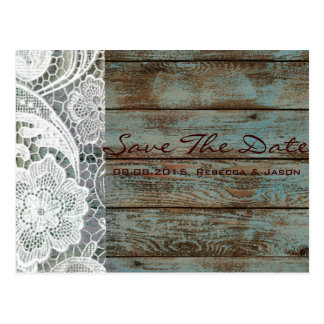 rustic lace teal barn wood wedding save the date postcard