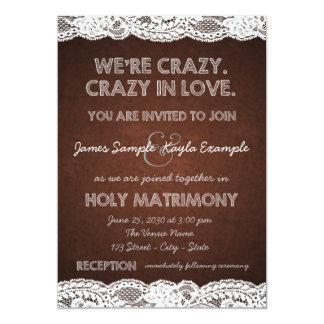 "Rustic Lace Wedding 5"" X 7"" Invitation Card"