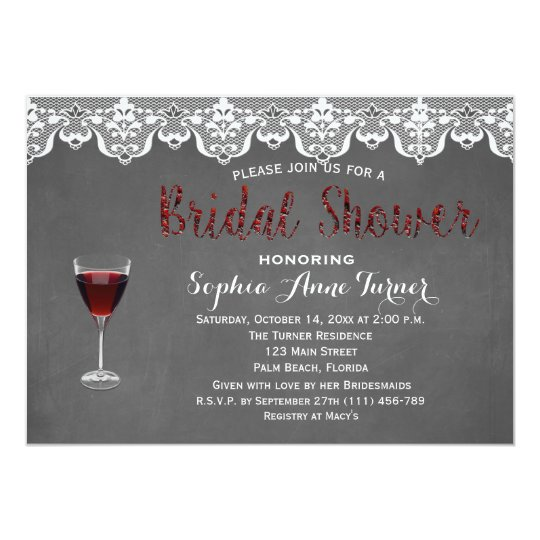 Rustic Lace Wine Tasting Bridal Shower Invitation