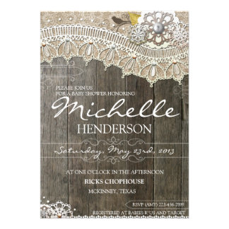Rustic Lace Wood Baby Shower Invitation