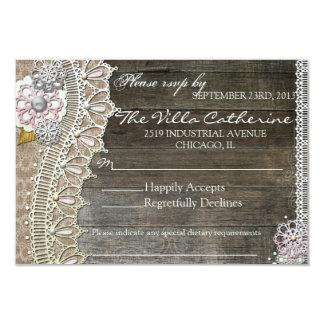Rustic Lace Wood Floral  Wedding Reception RSVP Custom Invite