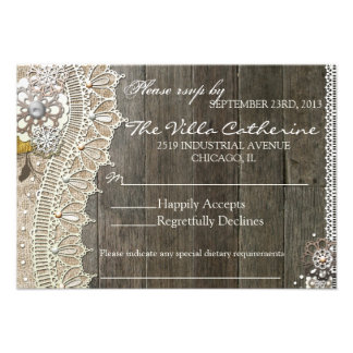 Rustic Lace Wood Floral Wedding Reception RSVP Personalized Invitations
