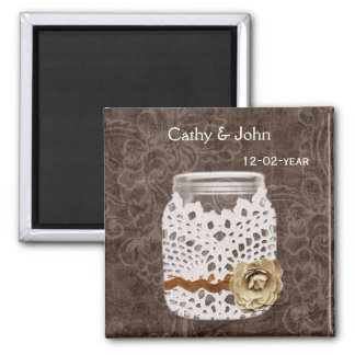 Rustic Lace Wrapped Mason Jar Wedding Square Magnet
