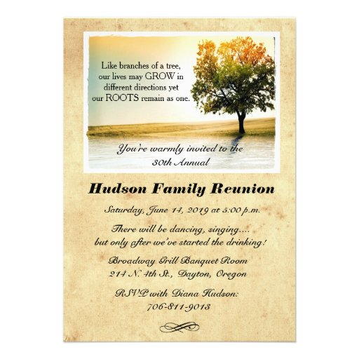Rustic Lakeside Tree Family Reunion Party Invites Invite