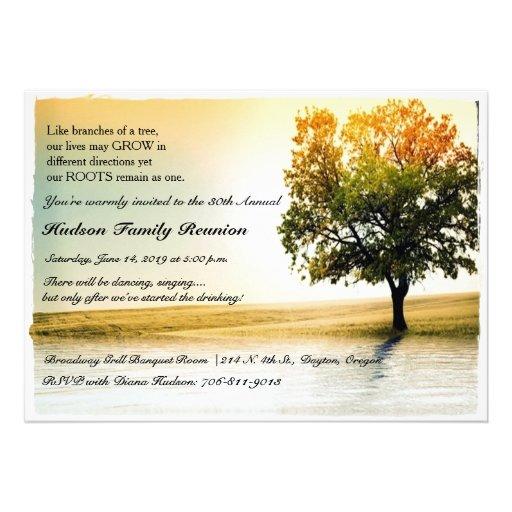 Rustic Lakeside Tree Family Reunion Party Invites Invitations