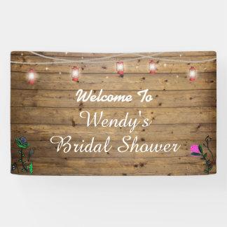 Rustic Lantern Lights Bridal Shower Poster Banner