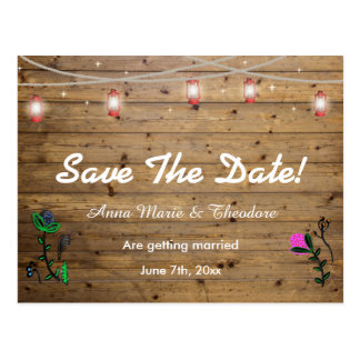 Rustic Lantern Lights Save the Date Card