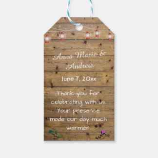 Rustic Lantern Lights Thank You Tag