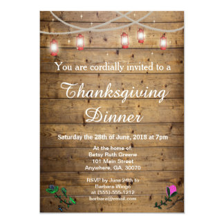 Rustic Lantern Lights Thanksgiving Invitation Card