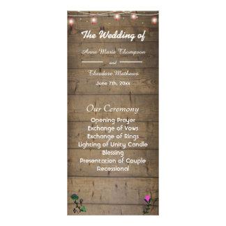 Rustic Lantern Lights Wedding Program Card