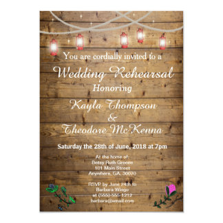 Rustic Lantern Lights Wedding Rehearsal Card